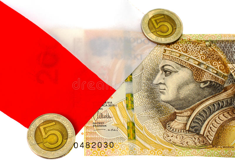 Denominazione 200 zlotys e zloty delle monete 5 immagine stock