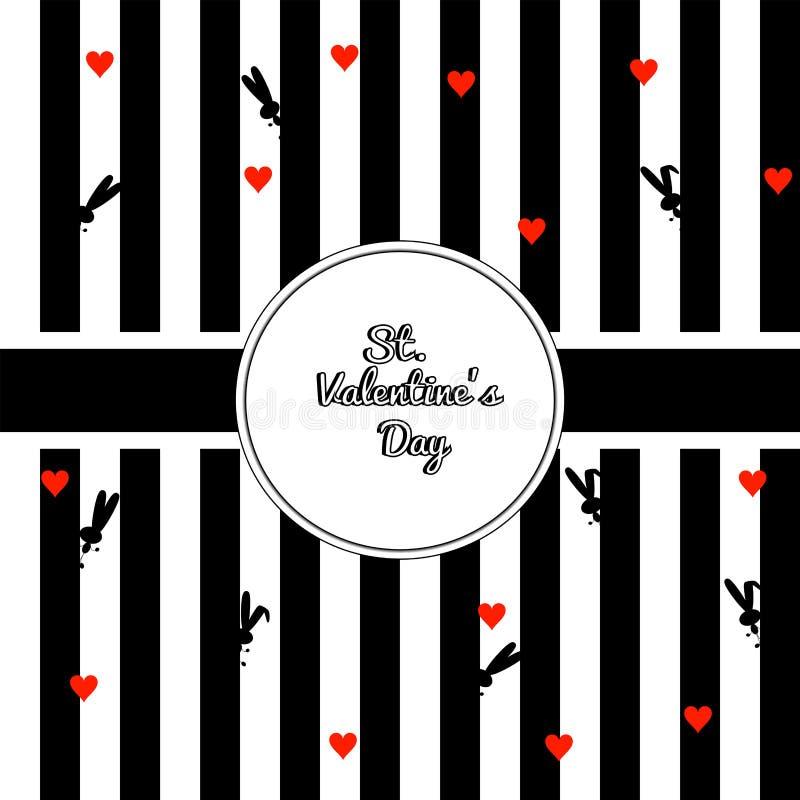 Denomine fundo listrado com cor preto e branco da caixa da beira do círculo Coelhos do preto da silhueta e corações vermelhos com ilustração royalty free