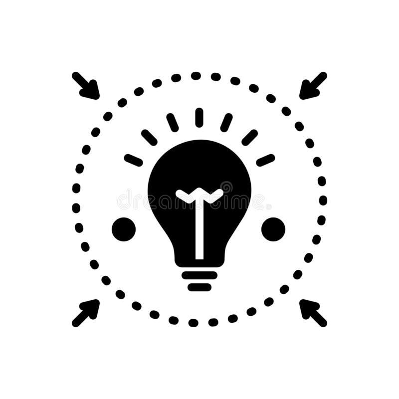 Black solid icon for Denote, enlighten and inform stock illustration