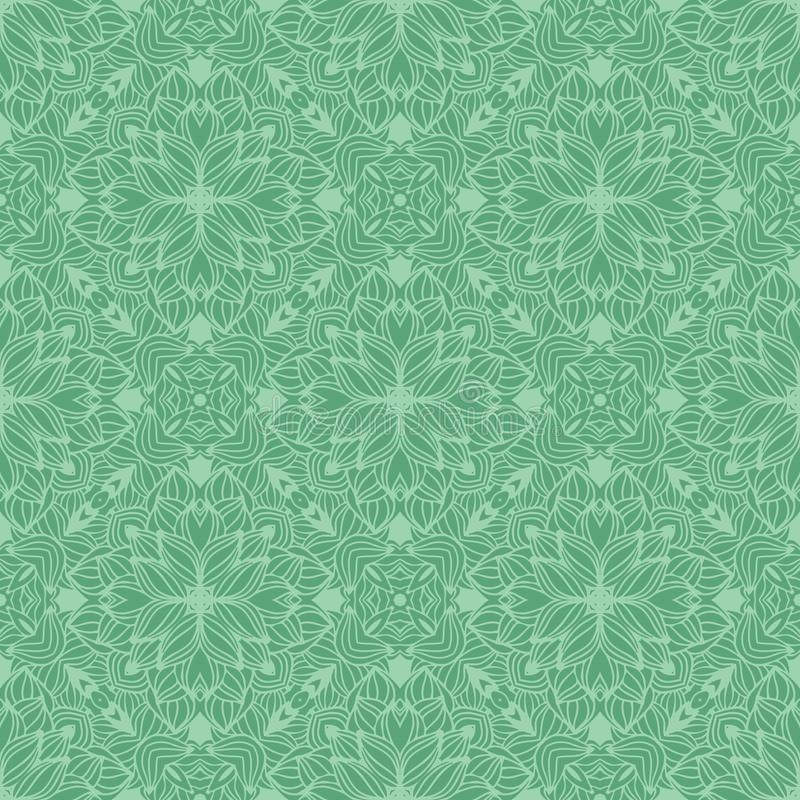 DENSE AQUA FLOWER PATTERN BACKGROUND IN GREEN TONE. Seamless background pattern for use in fabrics , web backgrounds , art , styling , prints , designing stock illustration
