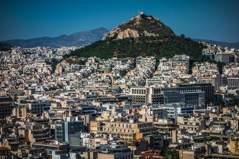 Dense area of Athens, Greece. Dense city of Athens with mountain, Greece stock photos