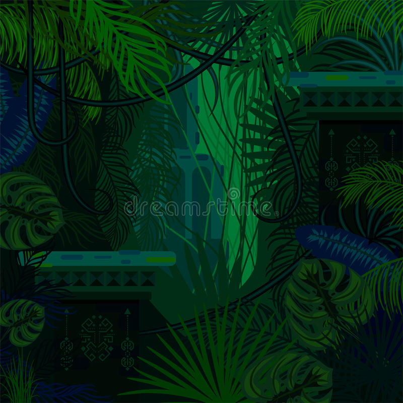 Dense foliage jungle nature background. Dark green and blue palm leaves, tree branches and mayan ruins vector stock illustration
