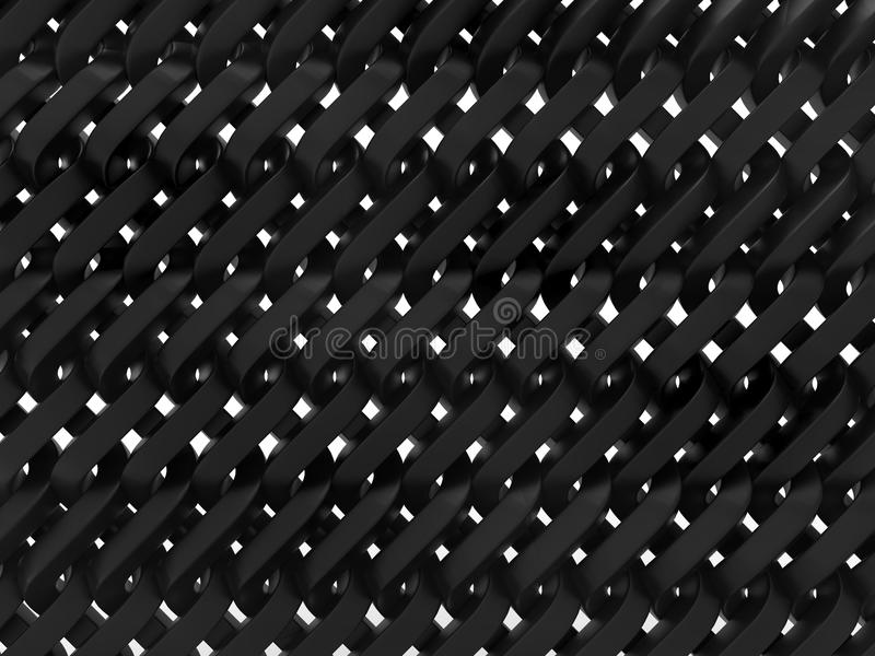 Dense metal chainlink fence. 3D rendered illustration of a dense chain link fence. The composition is isolated on a white background with no shadows royalty free illustration