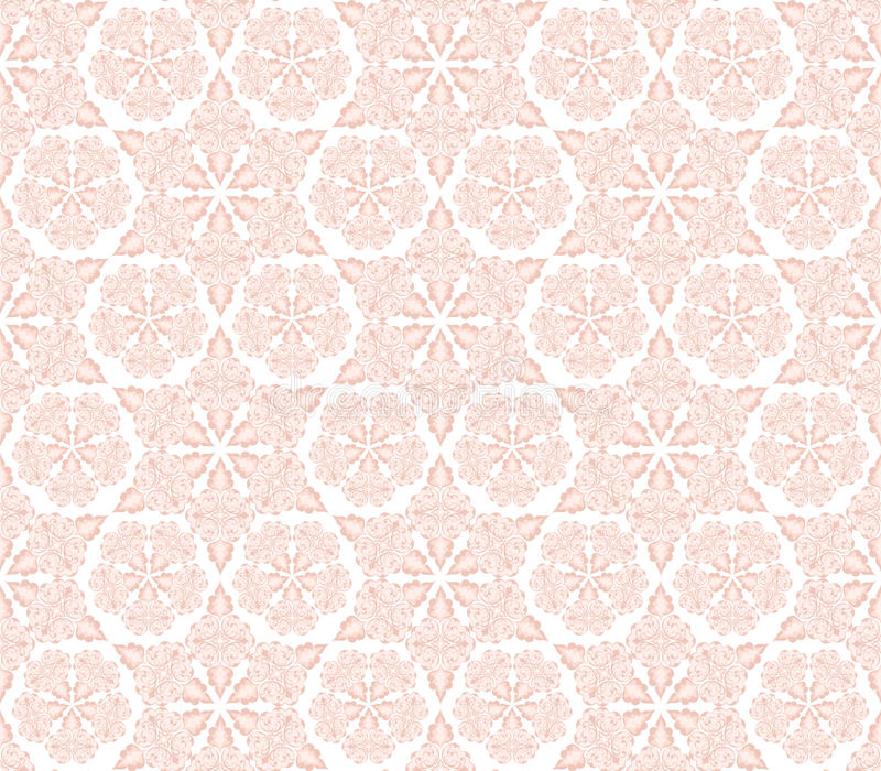Dense pink ornament with swirls and leaves. Dense ornament with swirls and leaves in pink tones on a white background stock illustration