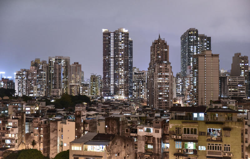 A dense residential area in Macao stock images
