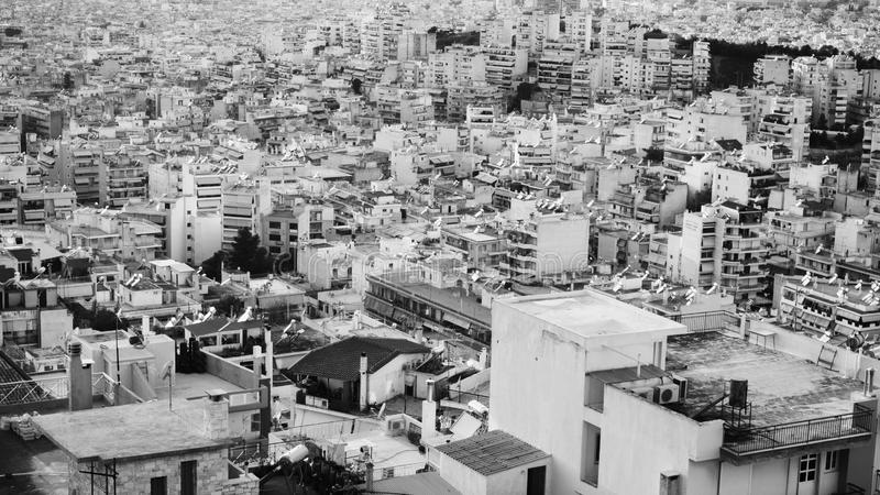 Dense urban development. View of the Athens. Dense urban development. Many building visible from above stock image