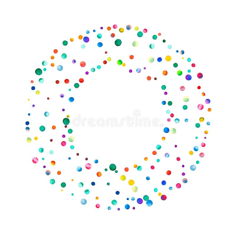 Dense watercolor confetti on white background. royalty free illustration