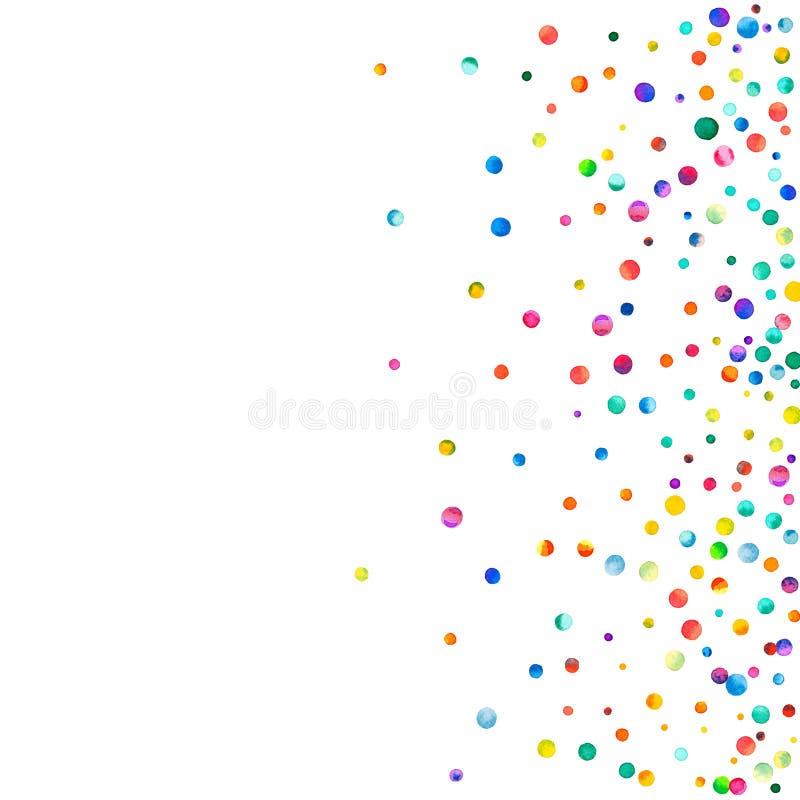 Dense watercolor confetti on white background. stock illustration