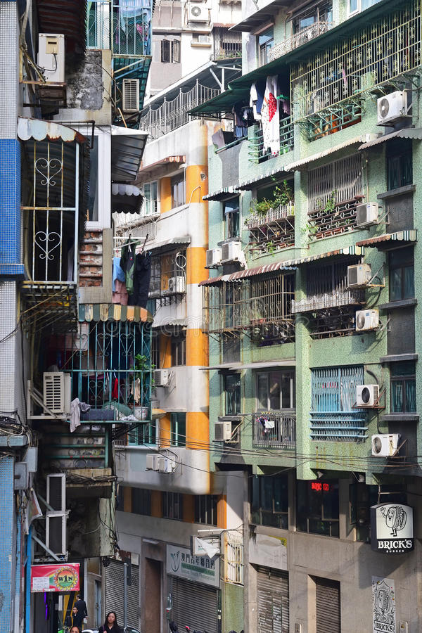 Densely populated old apartment units in Macau, China royalty free stock images