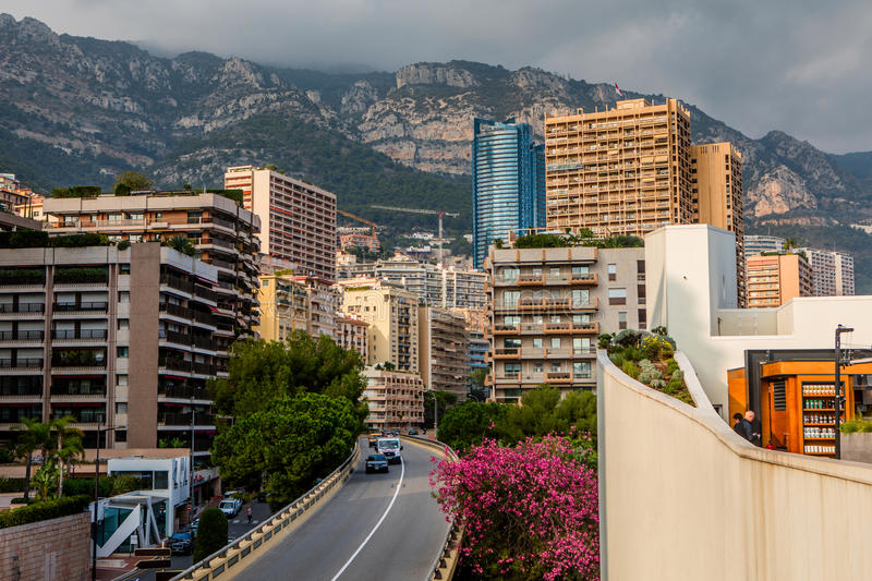 Densely populated residential district of Monaco. Monaco, Monte Carlo - November 4, 2016: Densely populated residential district of Monaco. Monaco is the second royalty free stock photo