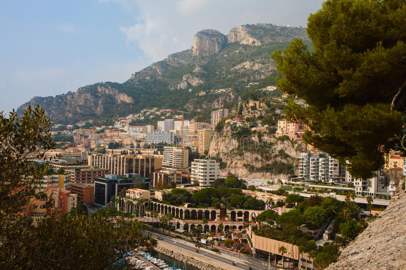 Densely populated residential district of Monaco. Monaco, Monaco-Ville - November 4, 2016: Densely populated residential district of Monaco. Monaco is the second stock photography