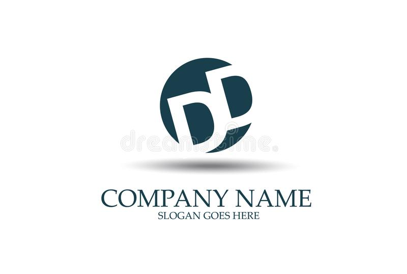 Densité double abstraite Logo Design Vector de lettre illustration stock