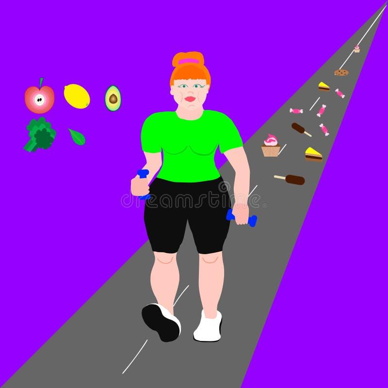denstorleksanpassade unga röda kvinnan kör royaltyfri illustrationer