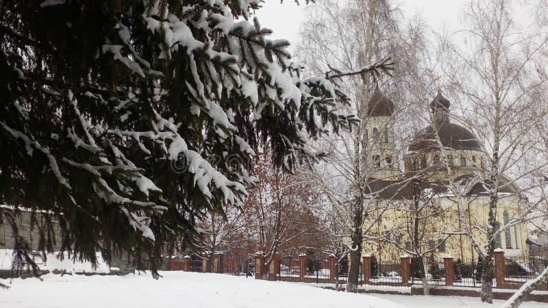 dentäckte kyrkan, snödrivor, sörjer i snön royaltyfri foto