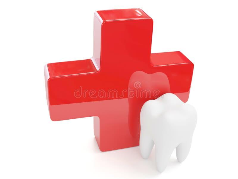 dent 3d et Croix-Rouge illustration stock