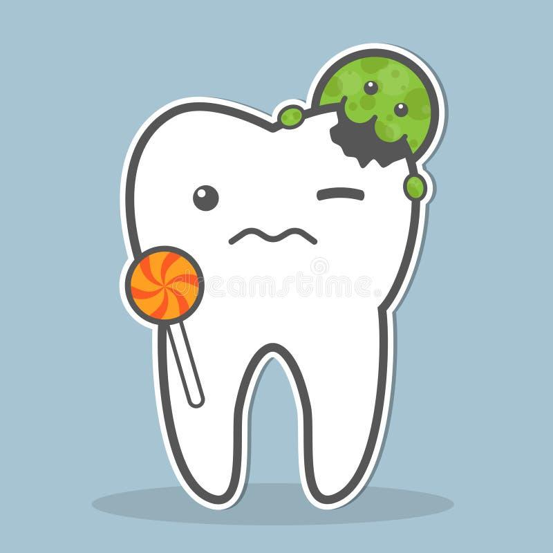 Dent attaquée par le micro-organisme illustration de vecteur