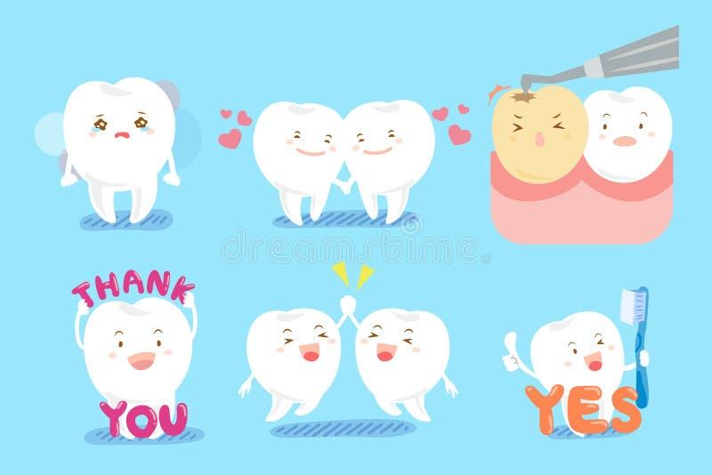 Dent avec émotion différente illustration stock