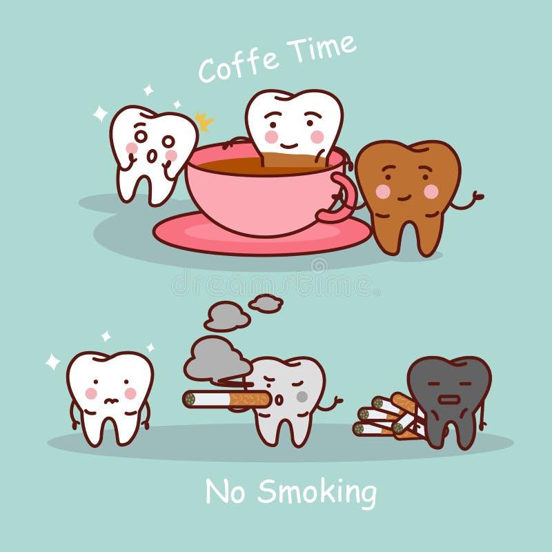 Dent avec du café et la fumée illustration stock