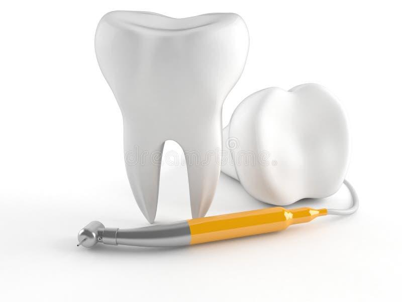 Dent avec l'équipement dentaire illustration stock