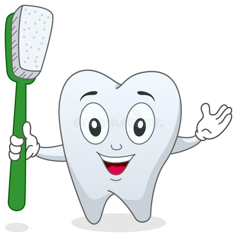 Dent avec le caractère de brosse à dents illustration de vecteur