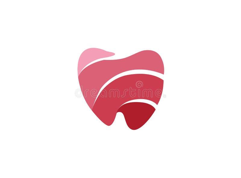 Dent avec les lignes d'effets fil dentaire pour orthodontique sur un fond blanc pour l'illustration de conception de logo illustration stock