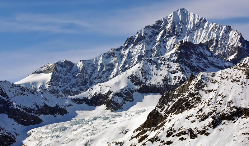 The Dent Blanche. Viewed from the east in the southern swiss alps above Zermatt. With the Wandfluh ridge to the left stock images