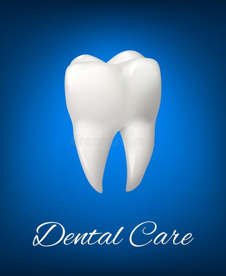 Dent blanche du vecteur 3D pour la conception de soins dentaires illustration de vecteur