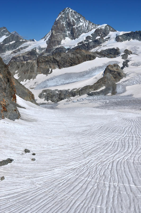 Dent Blanche. The west face of the Dent Blanche in the southern swiss alps between Evolene a Zermatt stock image