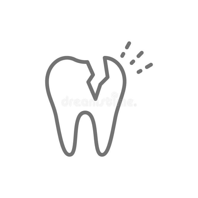 Dent cassée de vecteur, ligne dentaire icône de problème illustration stock
