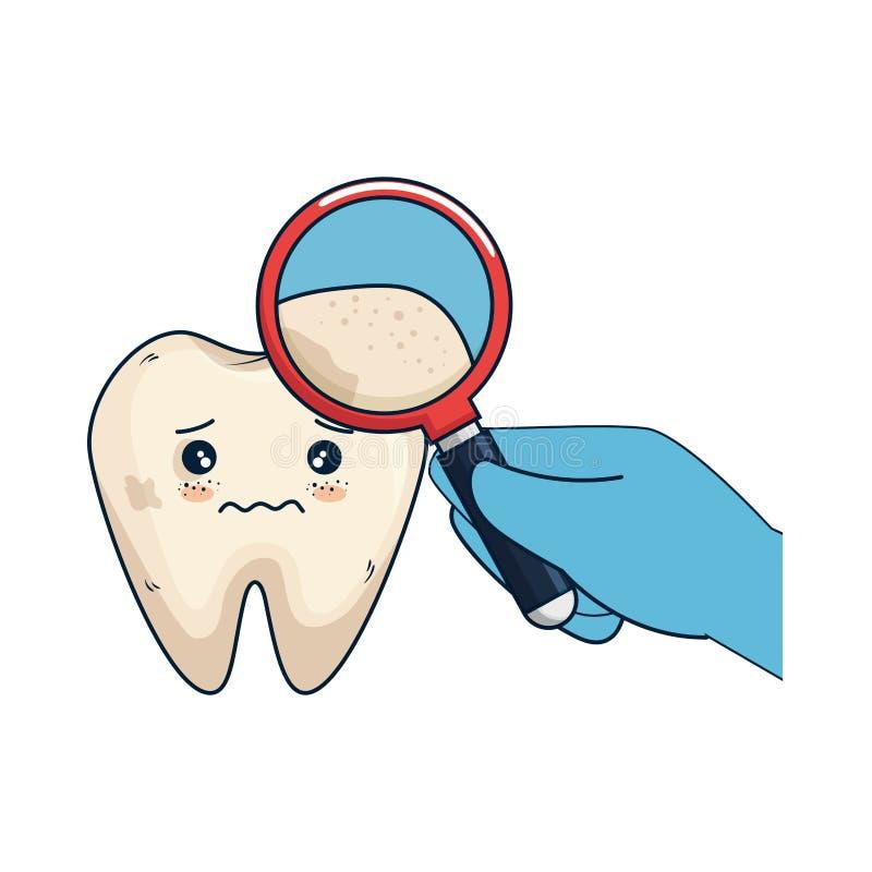Dent comique avec le dentiste et la loupe illustration stock