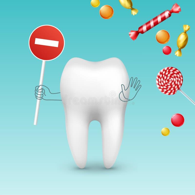 Dent contre des bonbons illustration de vecteur