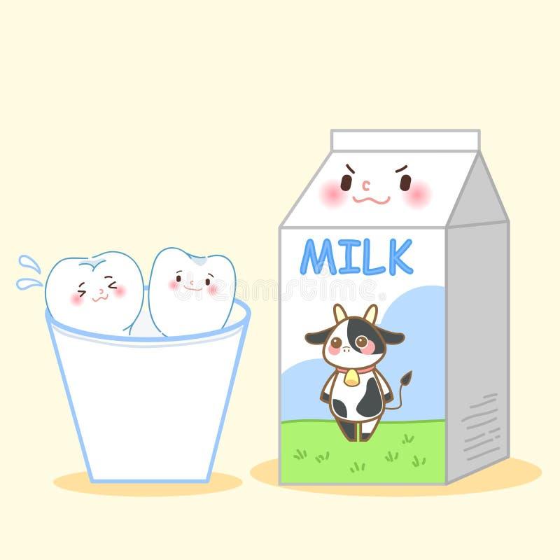 Dent de bande dessinée avec du lait illustration stock