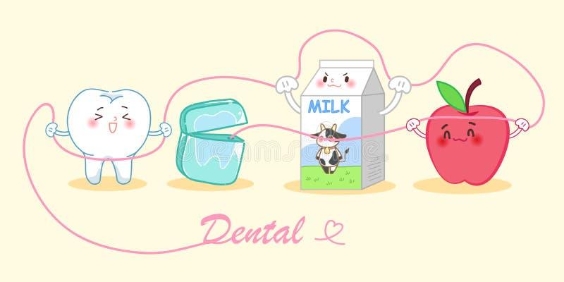 Dent de bande dessinée avec du lait illustration libre de droits