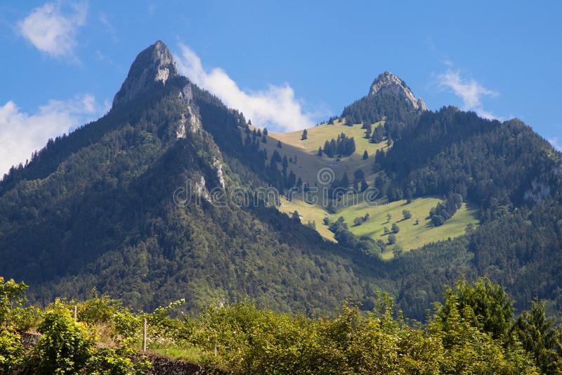 Dent de Broc and Dent du Chamois. In La Gruyere, Switzerland stock image