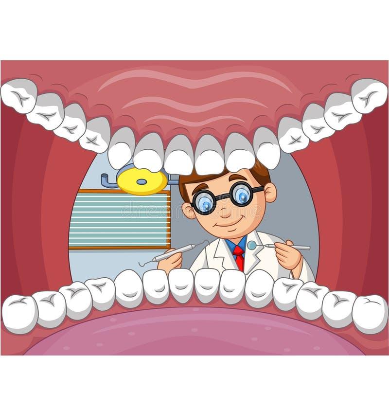 Dent de contrôle de dentiste de bande dessinée dans la bouche ouverte du patient illustration libre de droits