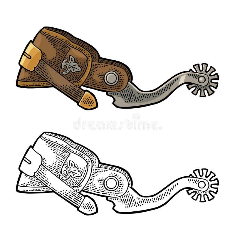 Dent de cuir et de métal Gravure de vintage illustration stock