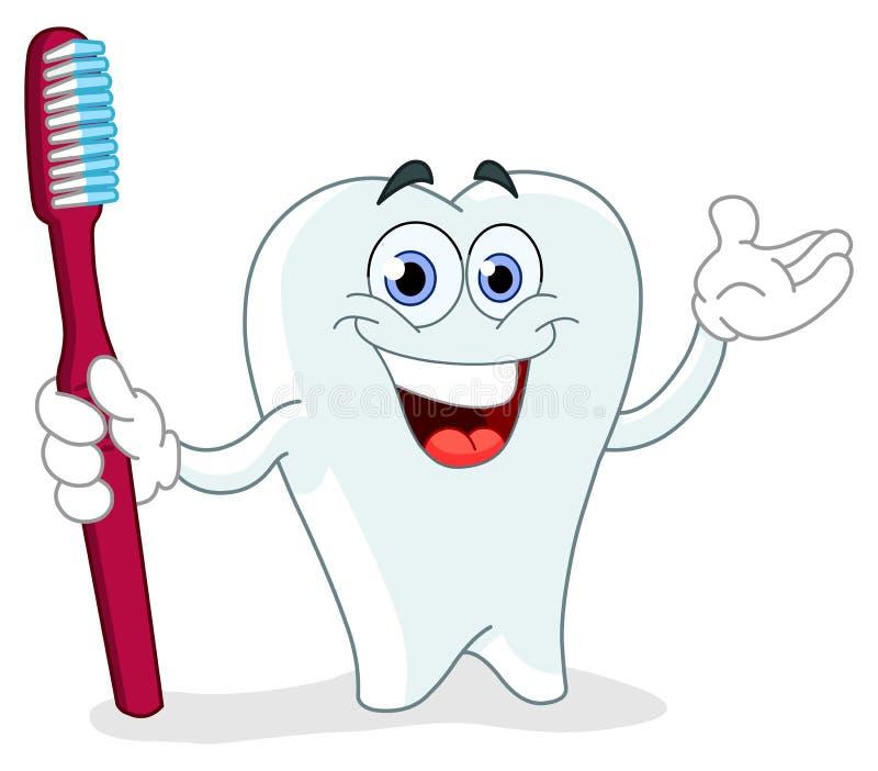 Dent de dessin animé avec la brosse à dents illustration de vecteur