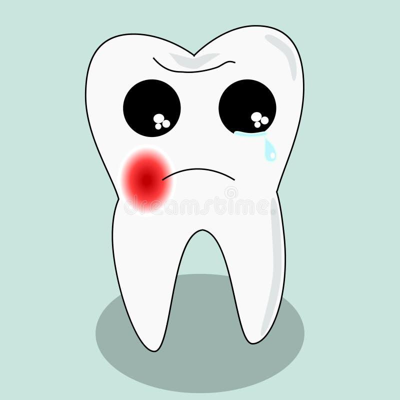 Dent de malade de bande dessinée de vecteur Délabrez et détruisez la dent Pleurer mignon de dent illustration stock