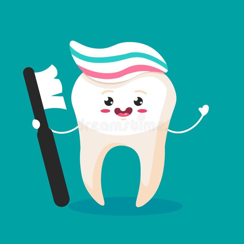Dent de sourire heureuse mignonne avec la coiffure de brosse ? dents et de p?te dentifrice Personnage de dessin anim? plat modern illustration de vecteur