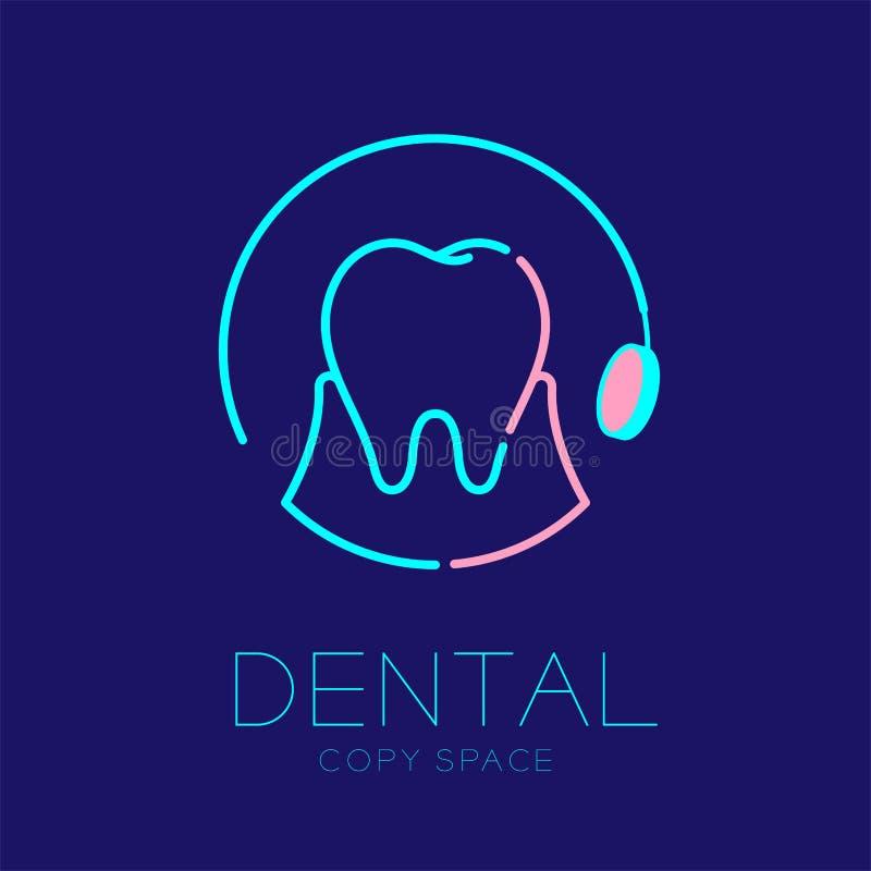Dent dentaire d'icône de logo de clinique avec l'illustration réglée de course d'ensemble de cadre de cercle de miroir de bouche illustration libre de droits