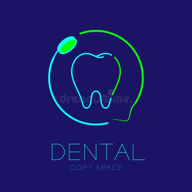 Dent dentaire d'icône de logo de clinique avec l'illustration réglée de miroir de bouche et de course d'ensemble de cadre de cerc illustration stock