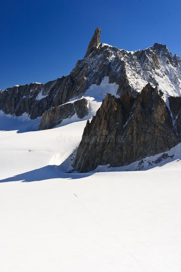 Dent du Geant - Mont Blanc. Summer view of Dent du Geant peak and glacier in Mont Blanc massif stock photos