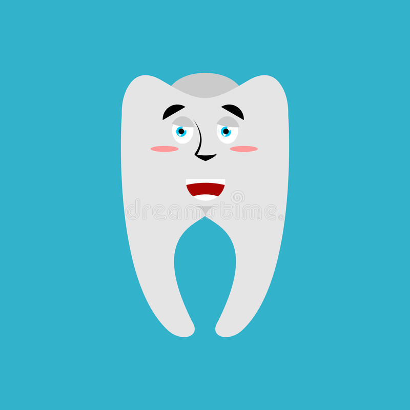 Dent Emoji heureux Joyeuse émotion de dents d'isolement illustration de vecteur