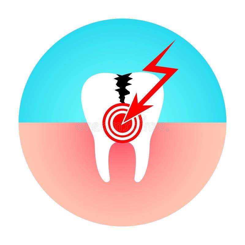 Dent endommagée Mal de dents La maladie de carie illustration stock