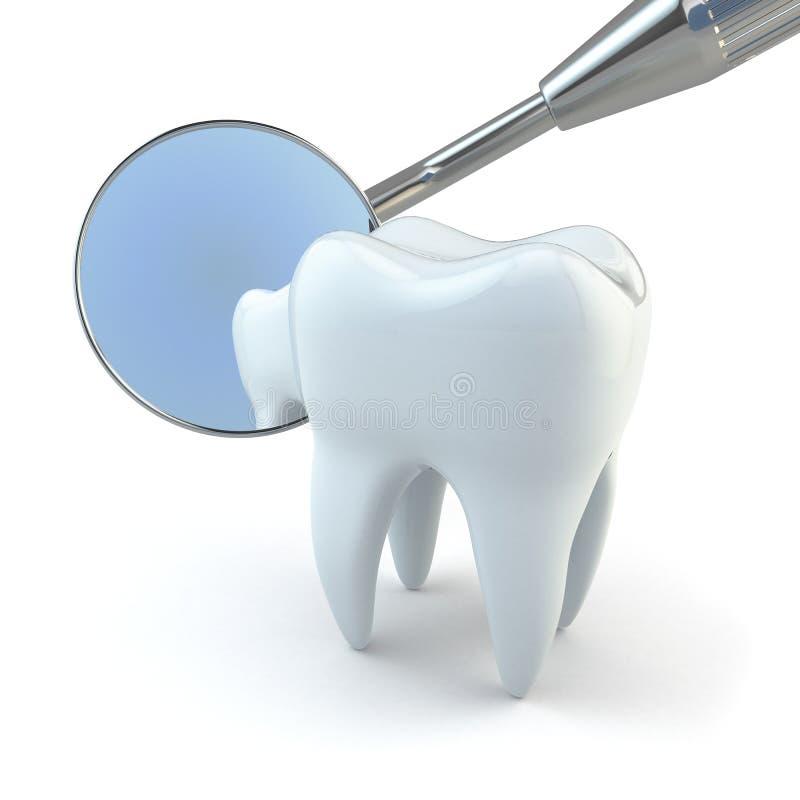 Dent et équipement dentaire sur le fond blanc. illustration stock