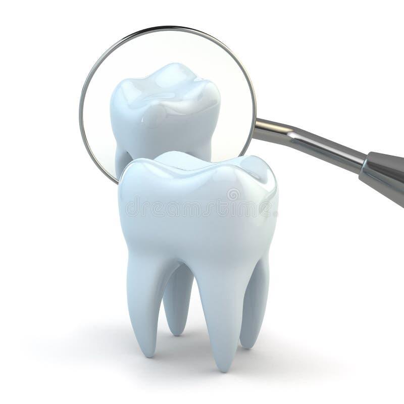 Dent et équipement dentaire sur le fond blanc. illustration de vecteur
