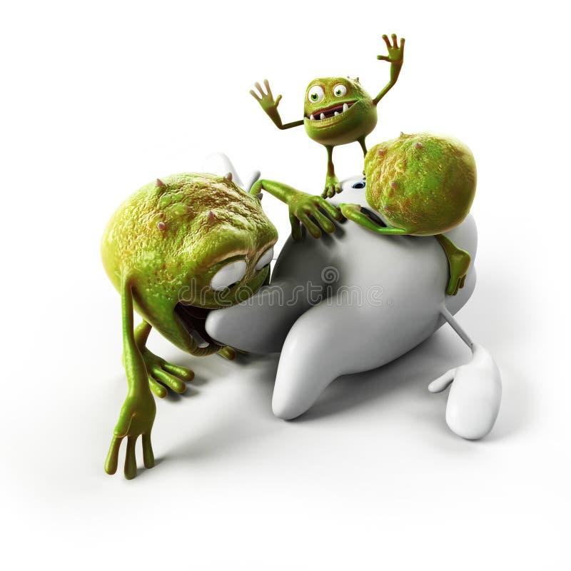 Dent et bactéries illustration stock