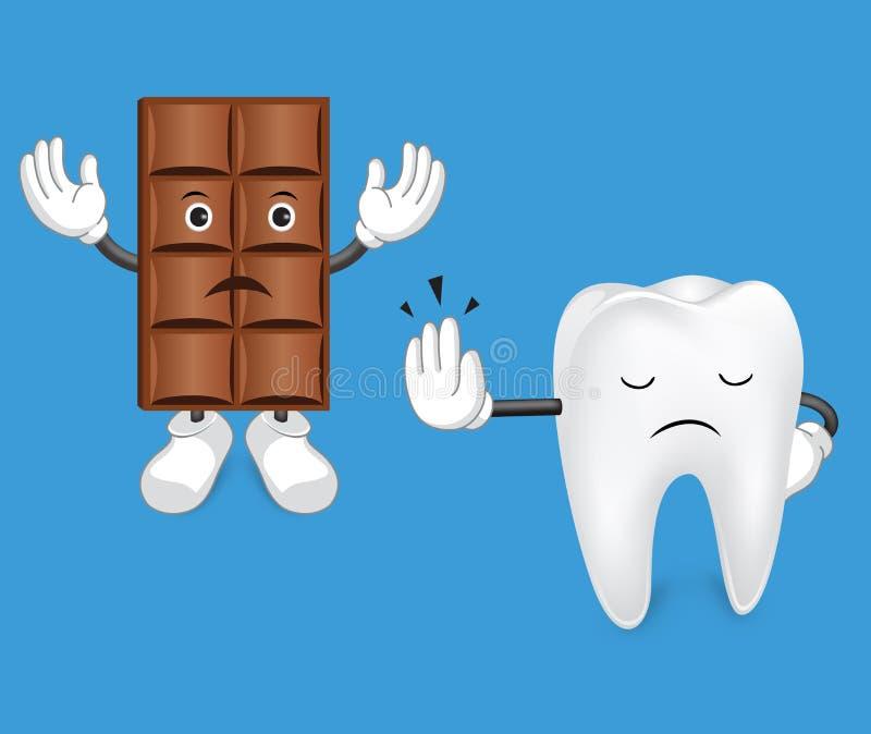 Dent et chocolat le chef heureux de crabots mignons effrontés de personnage de dessin animé de fond a isolé le blanc de sourire illustration de vecteur