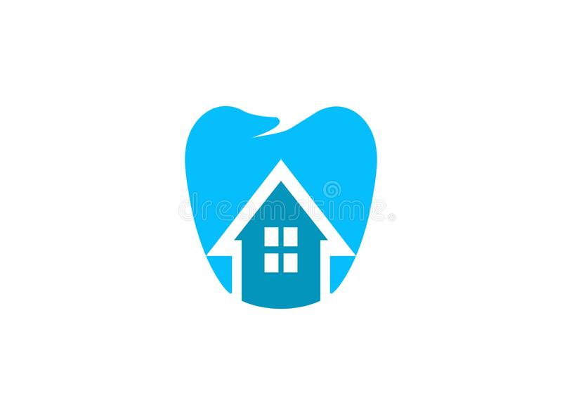 Dent et maison pour l'illustration de conception de logo sur un fond blanc illustration libre de droits