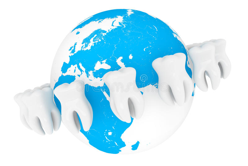 Dent extrême de plan rapproché avec le globe illustration stock